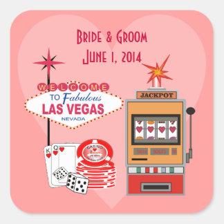Autocollants de mariage de style de Vegas d'amour