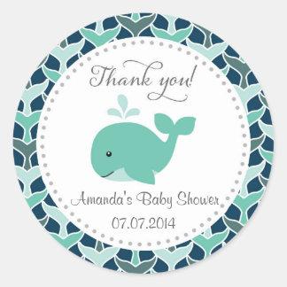 Autocollants de Merci de baby shower de baleine