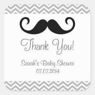 Autocollants de Merci de baby shower de moustache