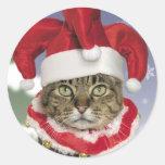 Autocollants de Noël de chat de farceur de Père