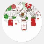 Autocollants de Noël de pot de maçon de pays