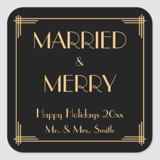 Autocollants de Noël marié et Joyeux d'art déco