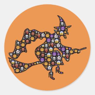 autocollants de sorcière d'emoji de Halloween