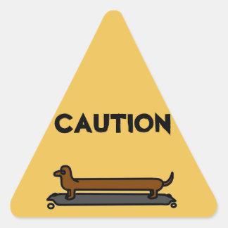 Autocollants de triangle de jaune de chien de