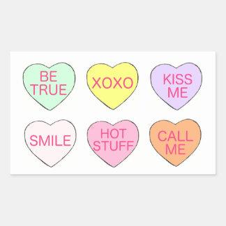 Autocollants de Valentine de coeurs de sucrerie de