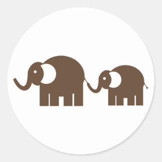 Autocollants d'éléphants de Brown