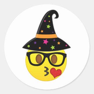 Autocollants d'Emoji Halloween de sorcière pour