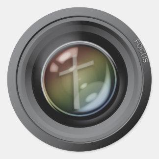 Autocollants d'objectif de caméra. Foyer sur Jésus