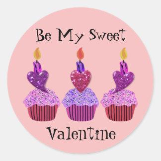 Autocollants doux de petits gâteaux de Valentine