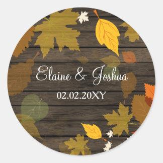 Autocollants en bois de mariage de automne de
