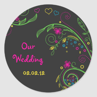Autocollants floraux au néon de mariage de