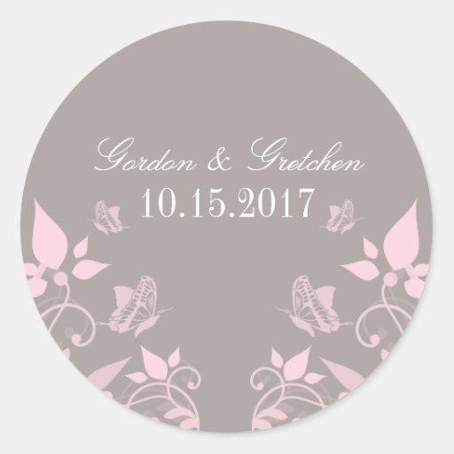 Autocollants floraux de mariage de papillon rose