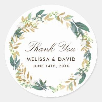Autocollants floraux de Merci de guirlande de