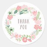 Autocollants floraux de Merci de la guirlande |
