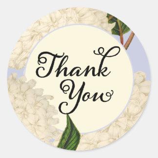 Autocollants floraux de Merci d'hortensia blanc