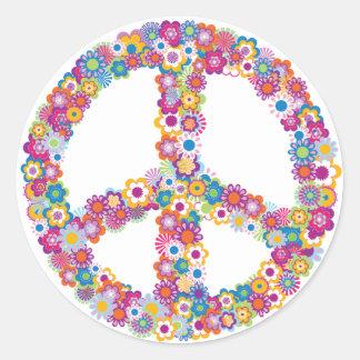 Autocollants floraux de signe de paix
