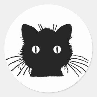 Autocollants fous de visage de chat noir