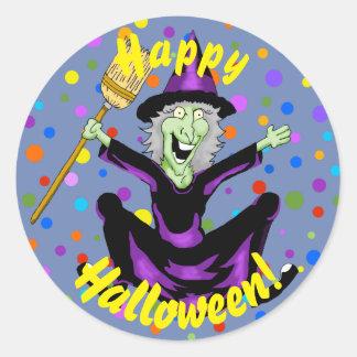 Autocollants heureux de Halloween de sorcière