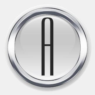 Autocollants initiaux ronds en acier élégants
