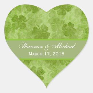 Autocollants irlandais verts de mariage de shamroc