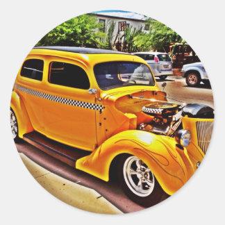 Autocollants jaunes de hot rod
