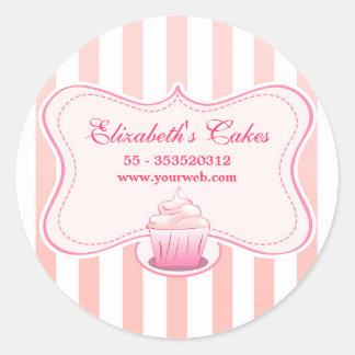 autocollants laiteux roses de petit gâteau