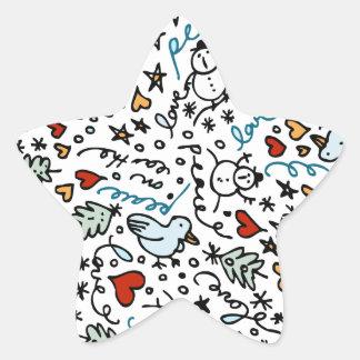 Autocollants mignons d'amour de Noël (étoile)
