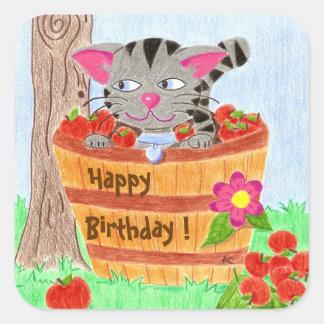 Autocollants mignons d'anniversaire de chat