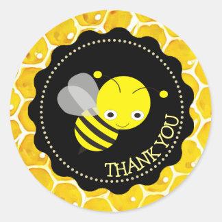 Autocollants mignons de Merci de nid d'abeilles