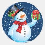 Autocollants mignons de Noël de bonhomme de neige
