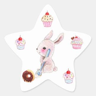 Autocollants mignons de petits gâteaux de lapin et