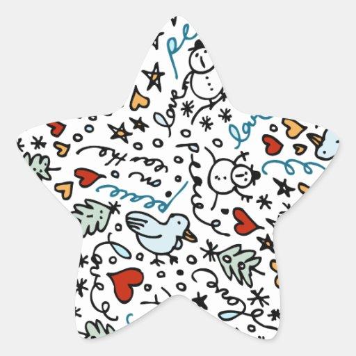 Autocollants mignons d'étoile d'amour de Noël