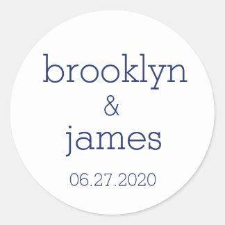 Autocollants modernes blancs et bleus de mariage