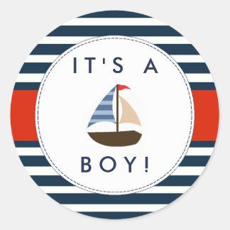 Autocollants nautiques de baby shower de bateau -