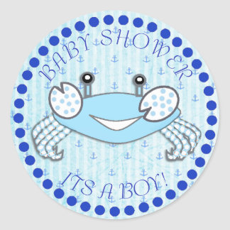 Autocollants nautiques de baby shower de crabe de