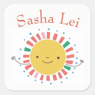 Autocollants nommés d'enfants avec Sun de sourire