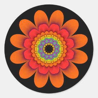 Autocollants oranges de flower power de fractale