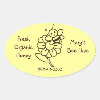 Autocollants ovales d'étiquette d'abeille de miel