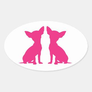 Autocollants ovales mignons de chien rose de