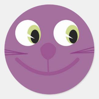 Autocollants pourpres de sourire mignons de chat