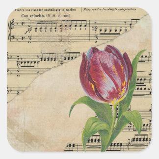 Autocollants Romance de tulipes de musique