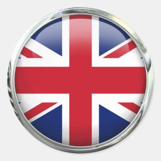 Autocollants ronds d Union Jack de drapeau britann