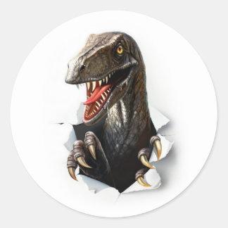 Autocollants ronds de dinosaure de Velociraptor