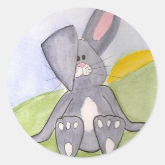 Autocollants ronds de lapin ensoleillé