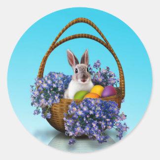Autocollants ronds de panier de lapin de Pâques