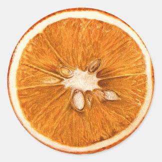 Autocollants ronds de rétro tranche orange