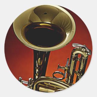Autocollants ronds de trompette ou de cornet