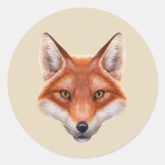 Autocollants ronds de visage de Fox rouge