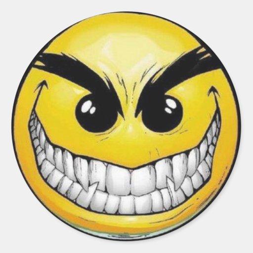 Autocollants ronds de visage souriant mauvais