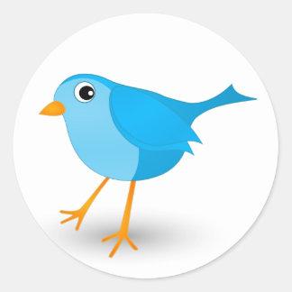 Autocollants ronds mignons de petit oiseau bleu